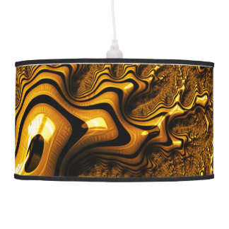 Trippy Fractal Art Chocolate Pudding Abstract Pendant Lamp