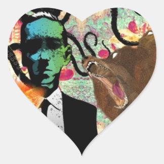 Trippy Frankenstein Art Heart Sticker