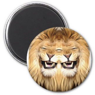 Trippy Happy Lion 2 Inch Round Magnet