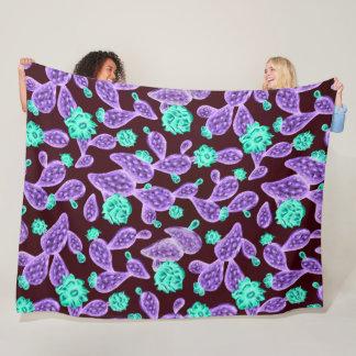 Trippy Neon Prickly Pear Cactus Satin Art Fleece Blanket