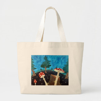 trippy night in the woods large tote bag
