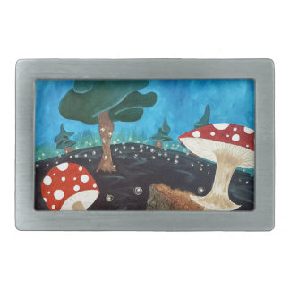 trippy night in the woods rectangular belt buckles