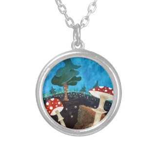 trippy night in the woods silver plated necklace