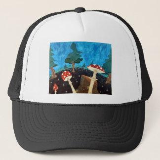 trippy night in the woods trucker hat