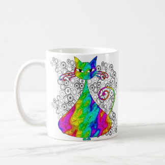 Trippy Psychedelic Cat Coffee Mugs