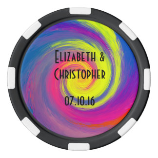 Trippy Psychedelic Rainbow Swirls Wedding Favor Poker Chip Set