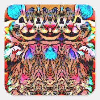 Trippy Rave Rat Square Sticker