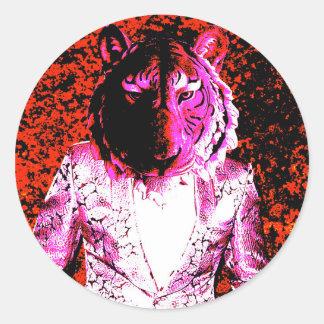 Trippy Tiger Classic Round Sticker