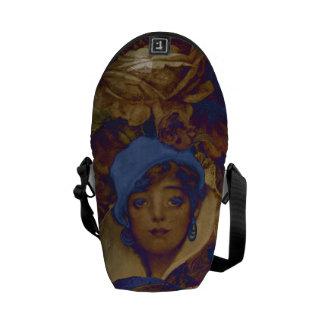 Trippy Vintage Woman Flowers Messenger Bags