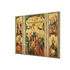 Triptych depicting the Crucifixion of Christ Canvas Print