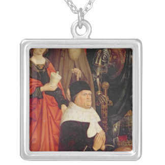 Triptych of Moses and the Burning Bush Silver Plated Necklace