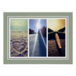 Triptych photo collage template wall poster print