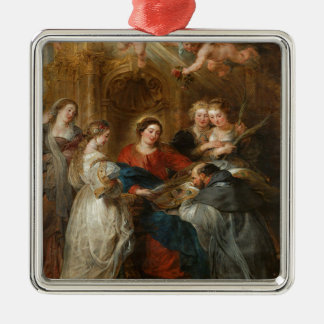 Triptych St. Idelfonso - Peter Paul Rubens Metal Ornament
