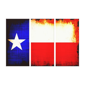 Triptych Texas Flag Canvas Print