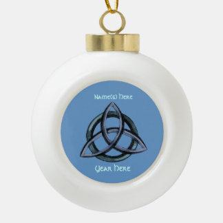 Triquetra (Blue) Ceramic Ball Christmas Ornament