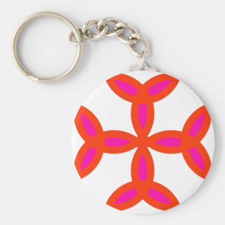 Triquetra Cross in Bright Red Hot Pink Basic Round Button Keychain