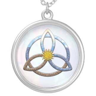 Triquetra Earth Air Water Silver Plated Necklace