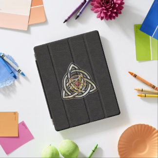 Triquetra Pentacle on Black iPad Cover