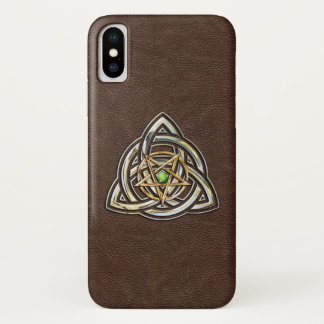Triquetra Pentagram on Brown iPhone X Case