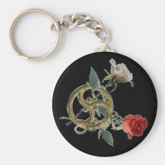 triskell roses black keychain