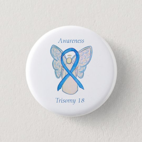 Trisomy 18 Awareness Angel Ribbon Art Pin