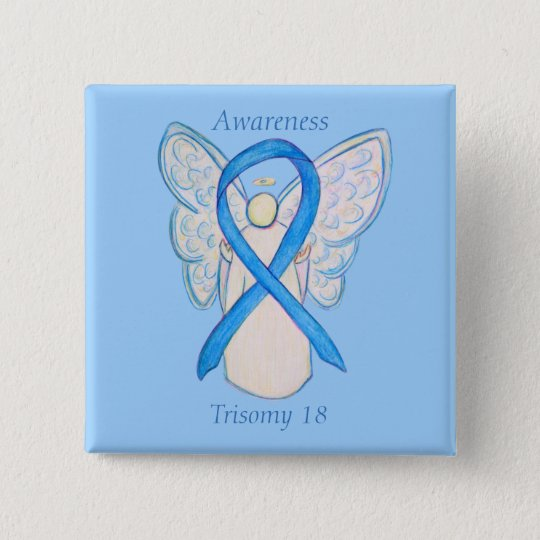 Trisomy 18 Awareness Angel Ribbon Art Pin