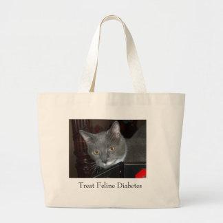 Tristan Bag, Treat Feline Diabetes Large Tote Bag