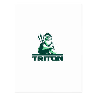 Triton Arms Crossed Trident Front Retro Postcard