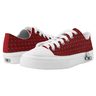 Tritty Painted Foxtrotter Red and Black Low-Top Sneakers