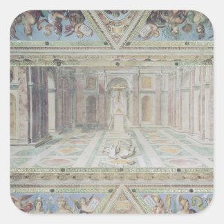 Triumph du christianisme, des salles de Raphael Autocollant Carré