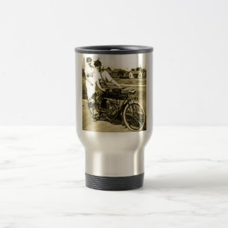 Triumph of Love Dating on a Motorcycle Vintage 15 Oz Stainless Steel Travel Mug