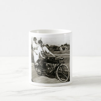Triumph of Love Dating on a Motorcycle Vintage Classic White Coffee Mug