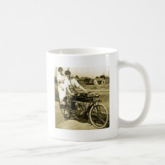 Triumph of Love Dating on a Motorcycle Vintage Coffee Mug