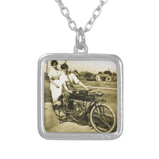 Triumph of Love Dating on a Motorcycle Vintage Square Pendant Necklace