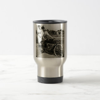 Triumph of Love Dating on a Motorcycle Vintage Travel Mug