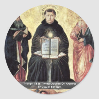 Triumph Of St. Thomas Aquinas On Averroes Round Sticker