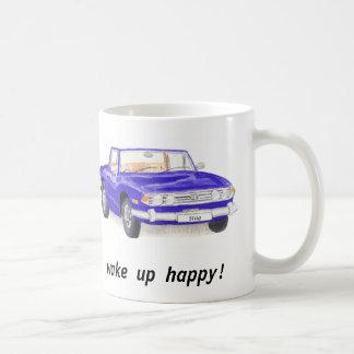 "Triumph Stag, classic blue car ""wake up happy"" mug"