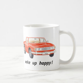 "Triumph Stag, classic red car ""wake up happy"" mug"
