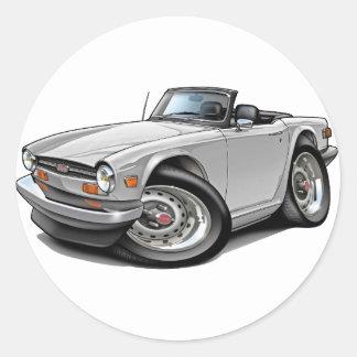 Triumph TR6 White Car Classic Round Sticker