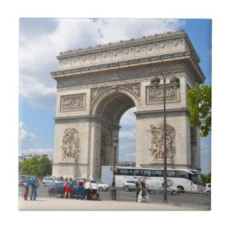 Triumphal Arch on Champs Elysees boulevard in Pari Ceramic Tiles
