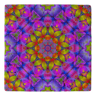 Trivet Marble Floral Fractal Art G445