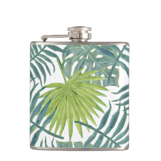 Troical Hawaiian Palm Art Blue Green Hip Flask