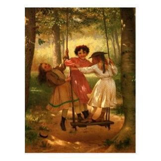 Trois filles sur une oscillation carte postale