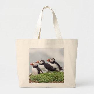 Trois macareux sacs