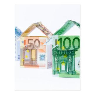 Trois maisons faites de billets de banque cartes postales