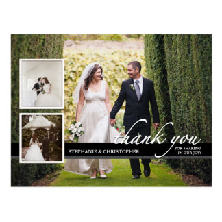 Trois Mercis chic intemporel de mariage de photo Carte Postale