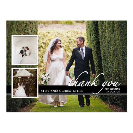 Trois Mercis chic intemporel de mariage de photo Cartes Postales