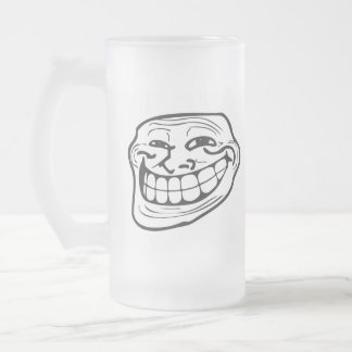 Troll LeMe Memes TROLLIN FACE FUNNY - EDITABLE Frosted Glass Beer Mug