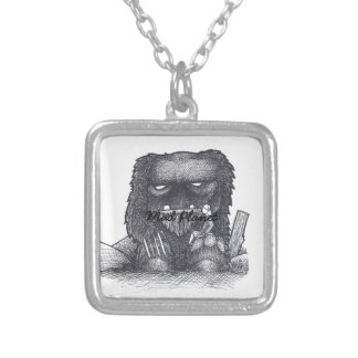 Troll Stump Drawing Silver Plated Necklace