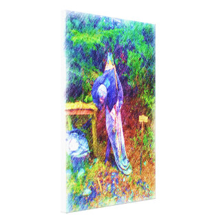 Troll with head under arm stretched canvas prints